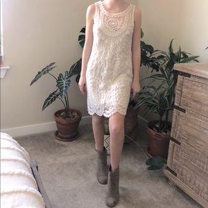 Free People Ivory Embroidered Lace Slip Mi…